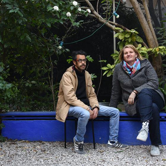 Driss Aroussi et Pauliina Salminen à Art-Cade, galerie des Grands Bains Douches, le 16 mars 2021 © Christophe Asso